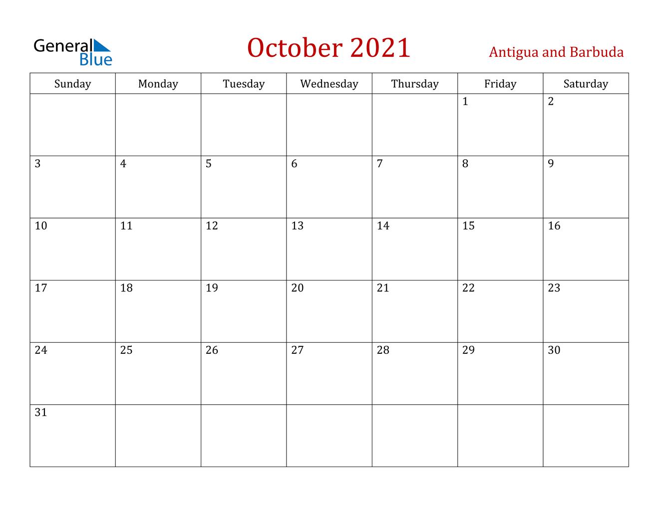 October 2021 Calendar Antigua And Barbuda
