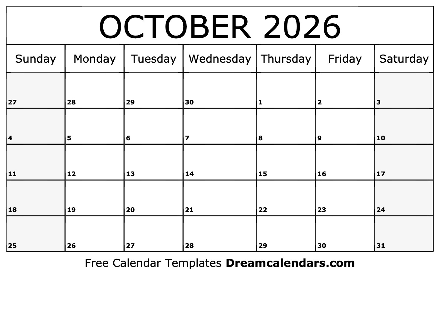 October 2026 Calendar Free Blank Printable Templates