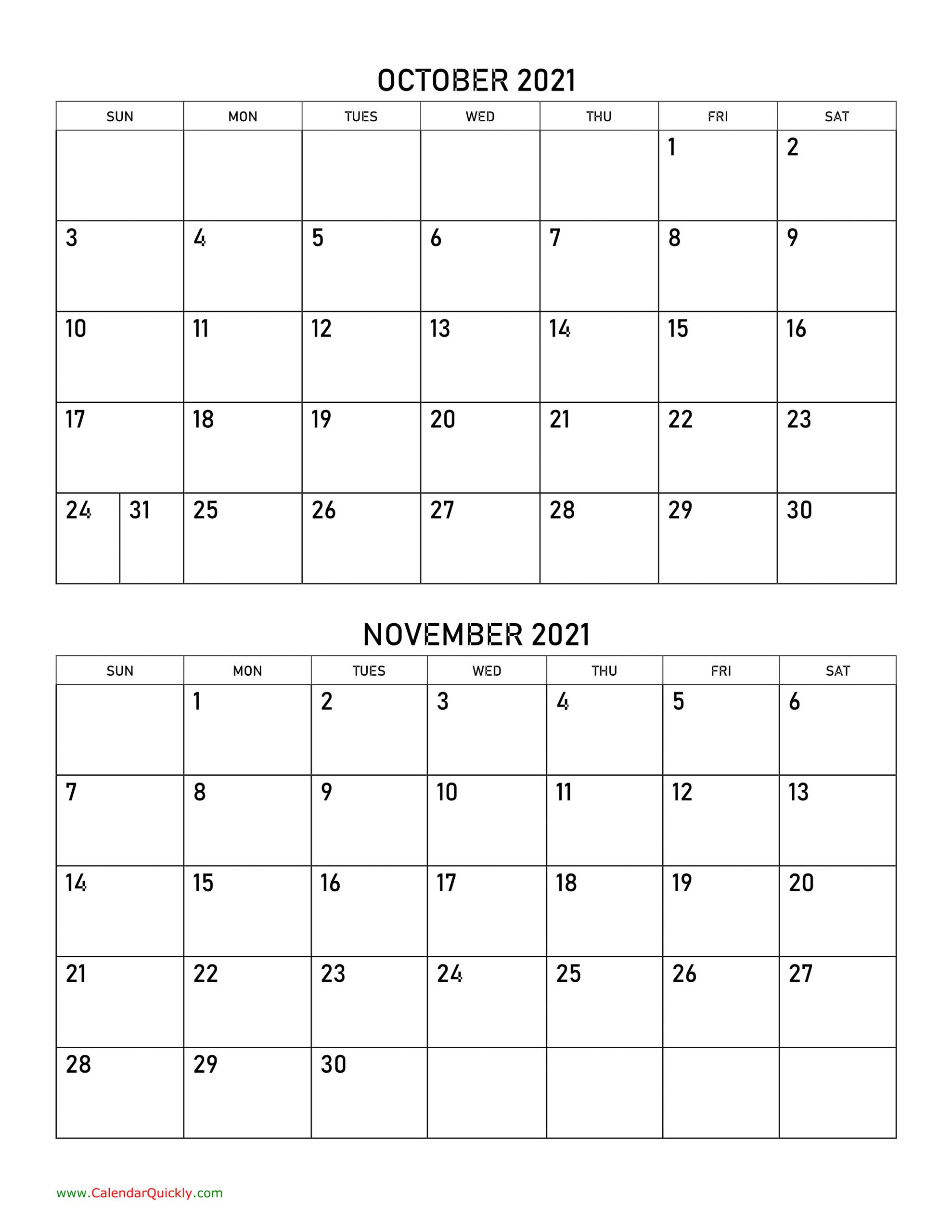 October And November 2021 Calendar Calendar Quickly