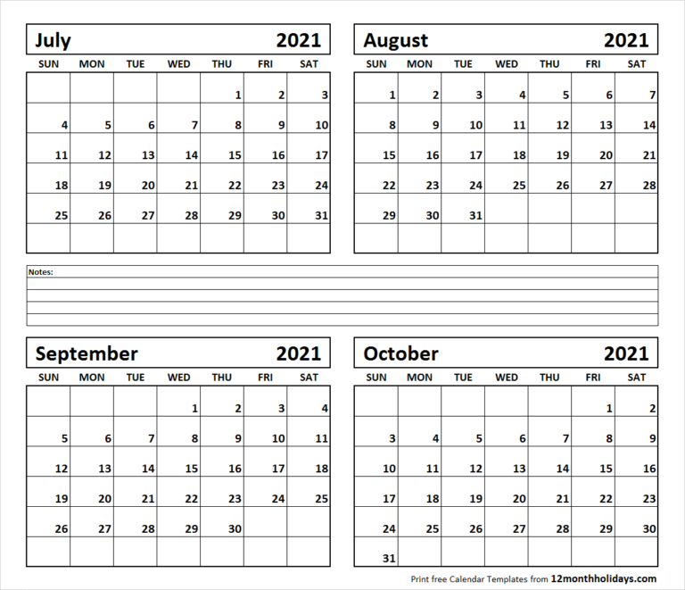 Print Four Month July August September October 2021