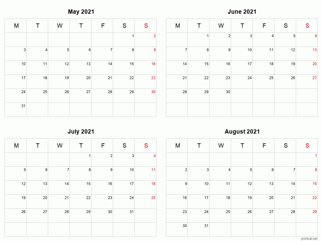 Printable 2021 Calendar Four Months Per Page Free