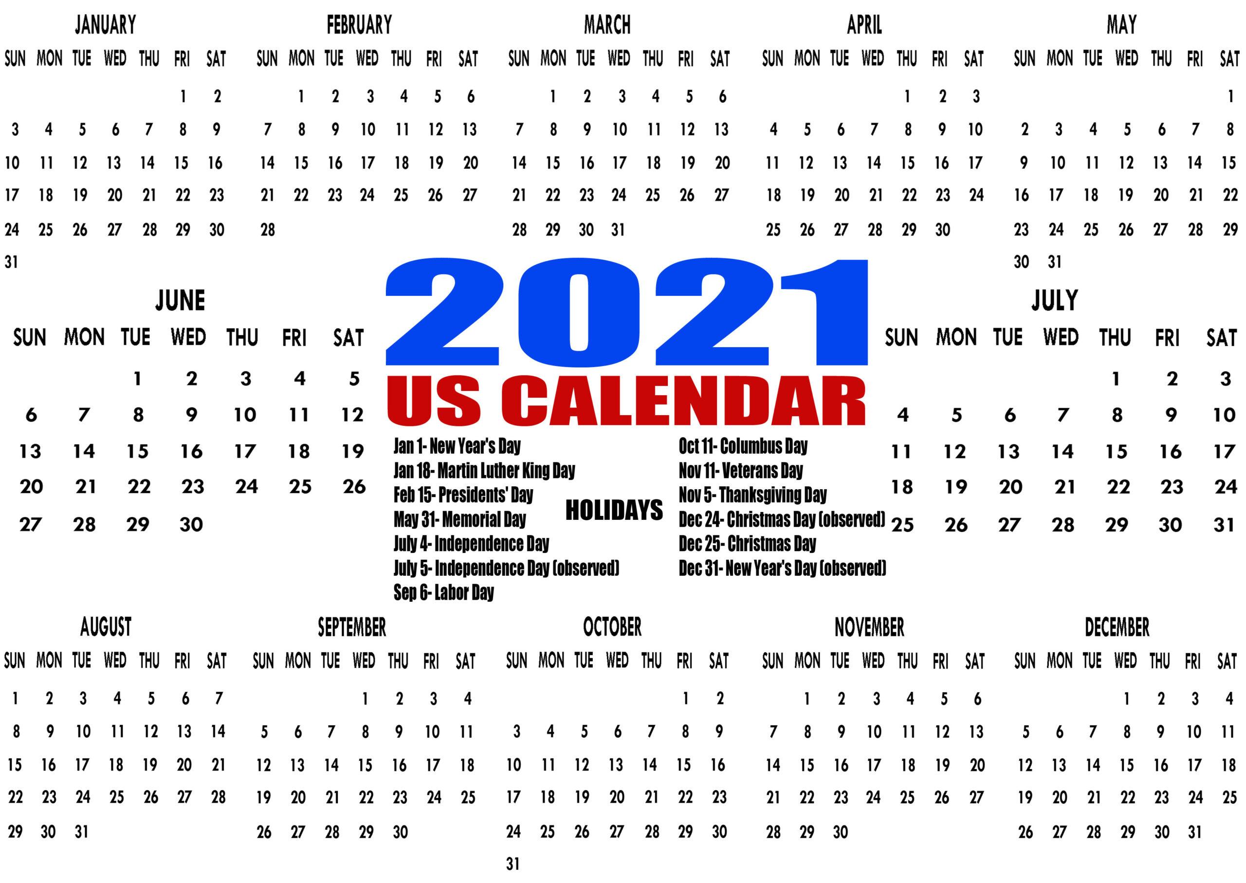 Printable 2021 Us Calendar With Holidays Federal Bank 1