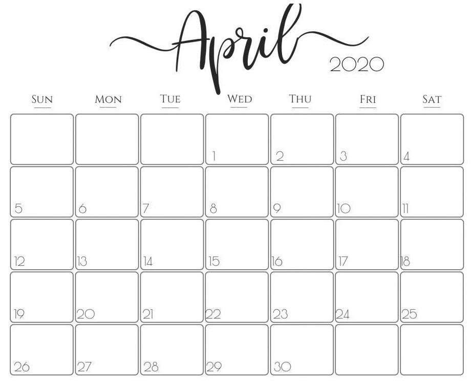 Printable April 2020 Calendar Waterproof Paper