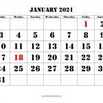 Printable Calendar 2021 Free Download Yearly Calendar