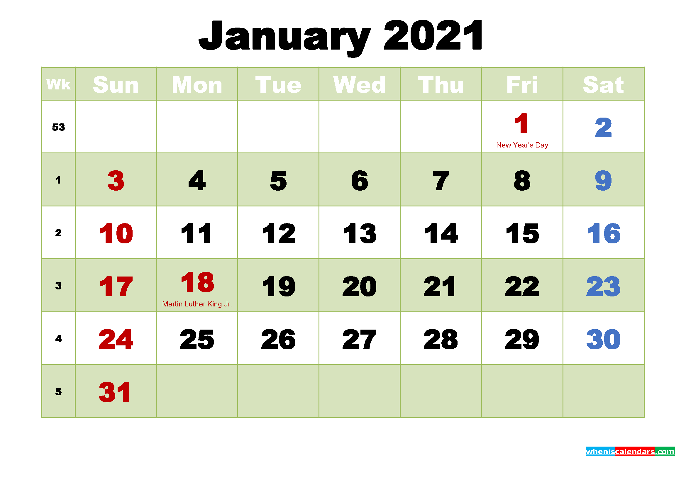 Printable Calendar For January 2021 Free Printable 2021