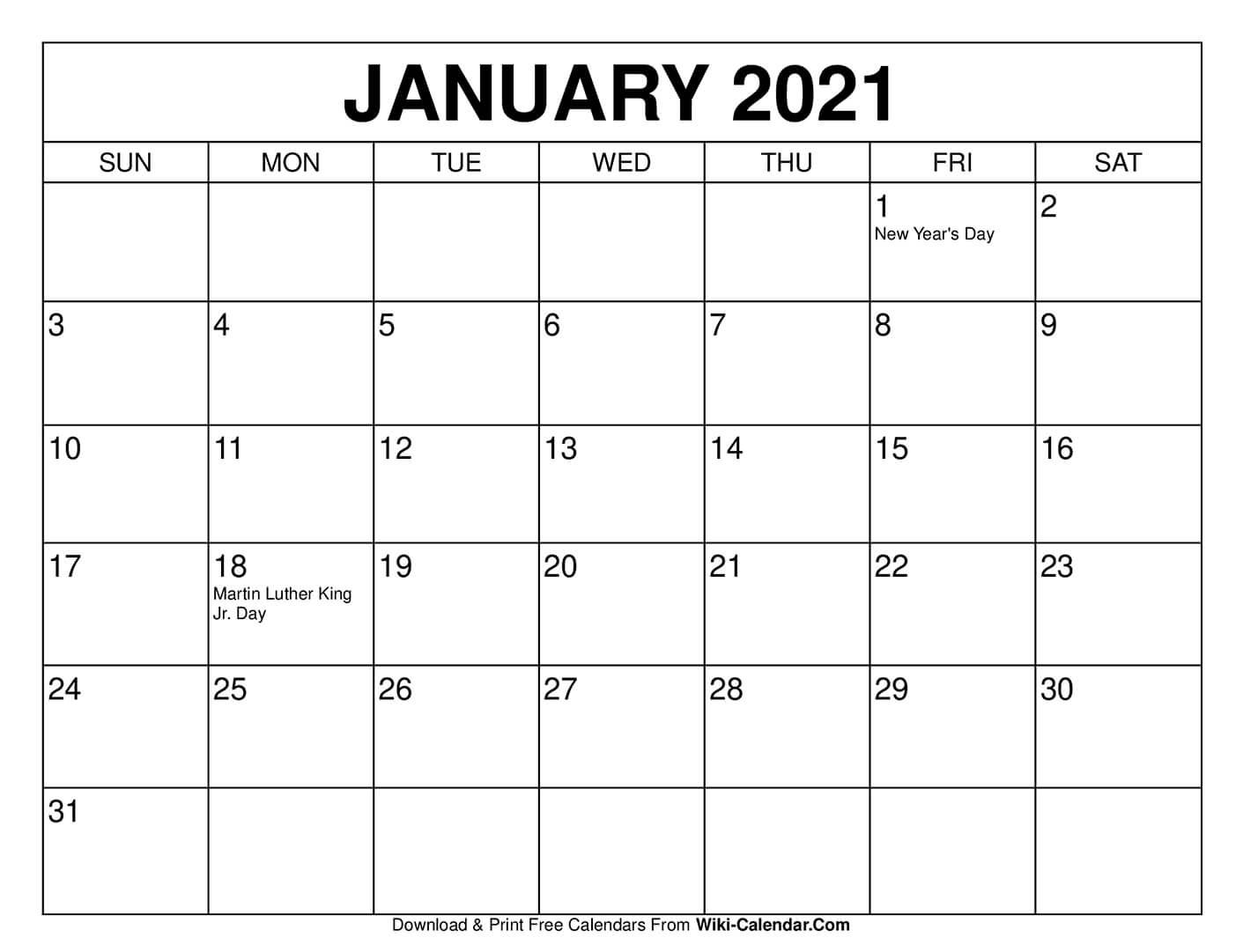 Printable Calendar For January 2021