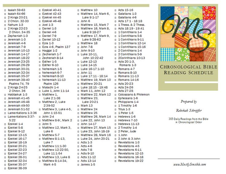 Printable Chronological Bible Reading Schedule
