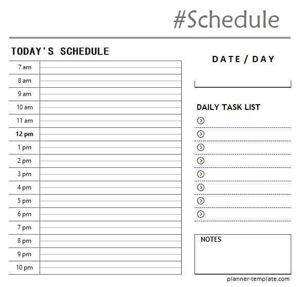 Printable Hourly Schedule Template Daily Planner For