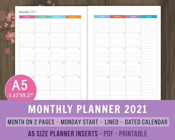 Printable Monthly 8 5x11 Calendar 2 Month 2021 2022 2022 Calendar