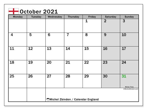 Printable October 2021 England Calendar Michel Zbinden En