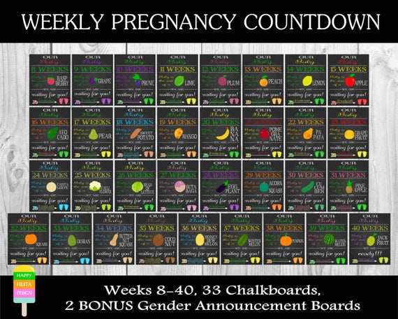 Printable Pregnancy Countdown Chalkboards Weekly Pregnancy