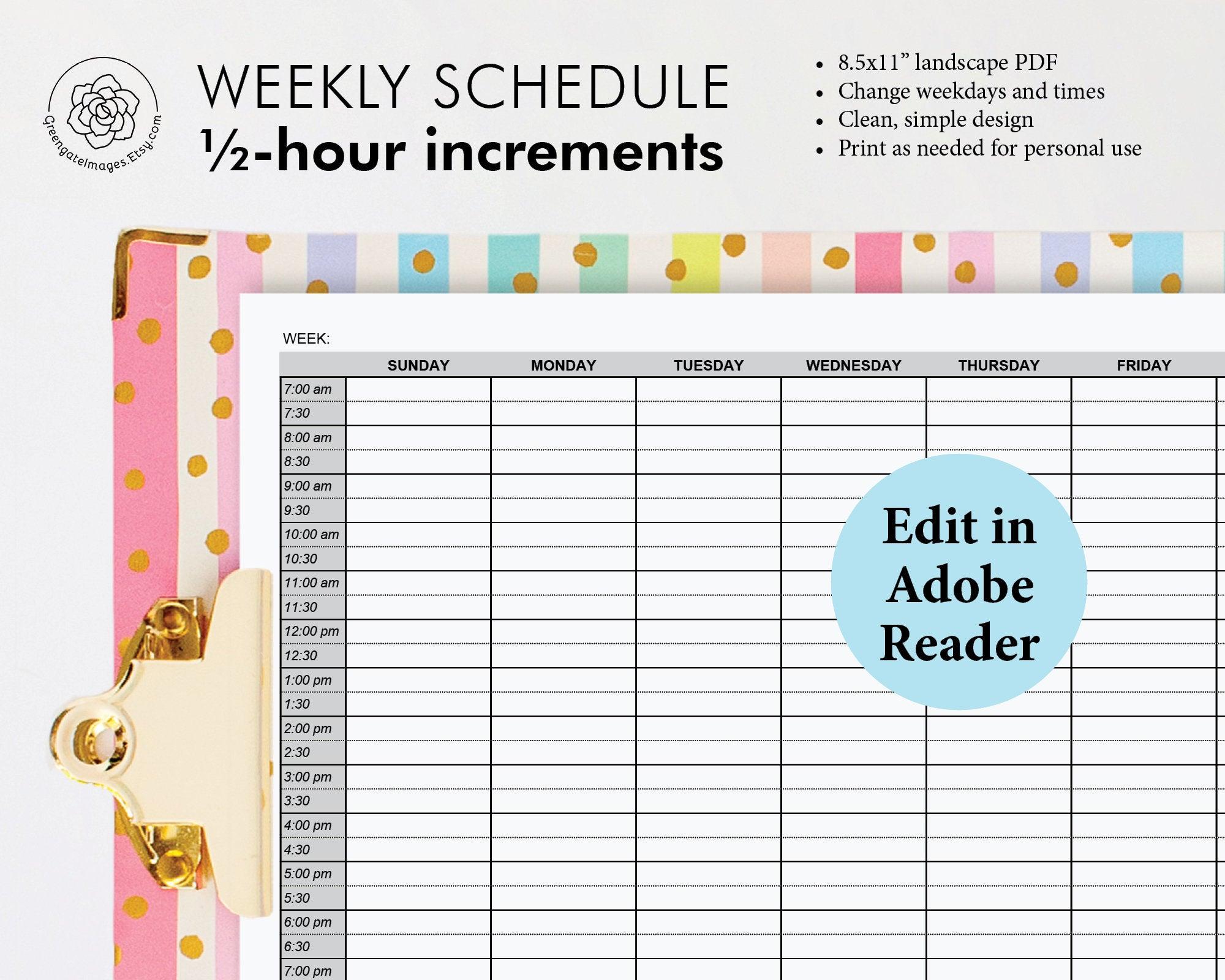 Printable Weekly Planner Editable Weekly Schedule Half