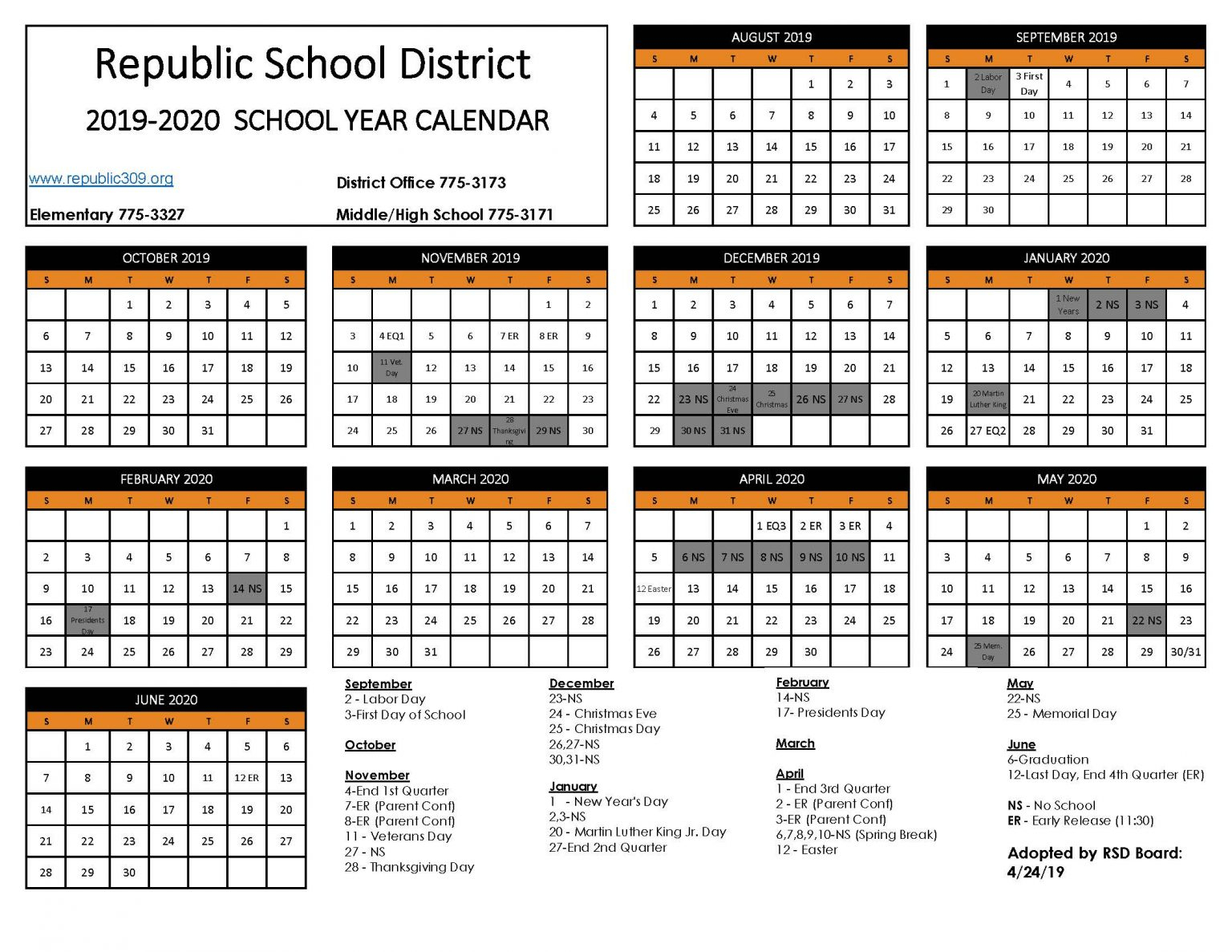 Republic School District Calendar 2020 Publicholidays 2