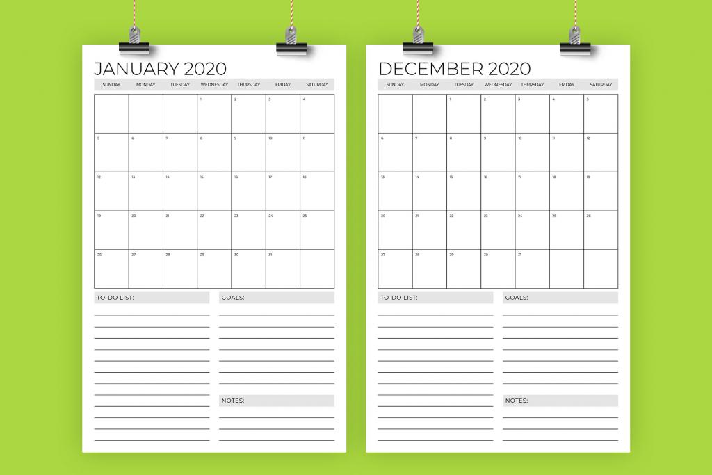 running calendar template 2020 printable free calendar
