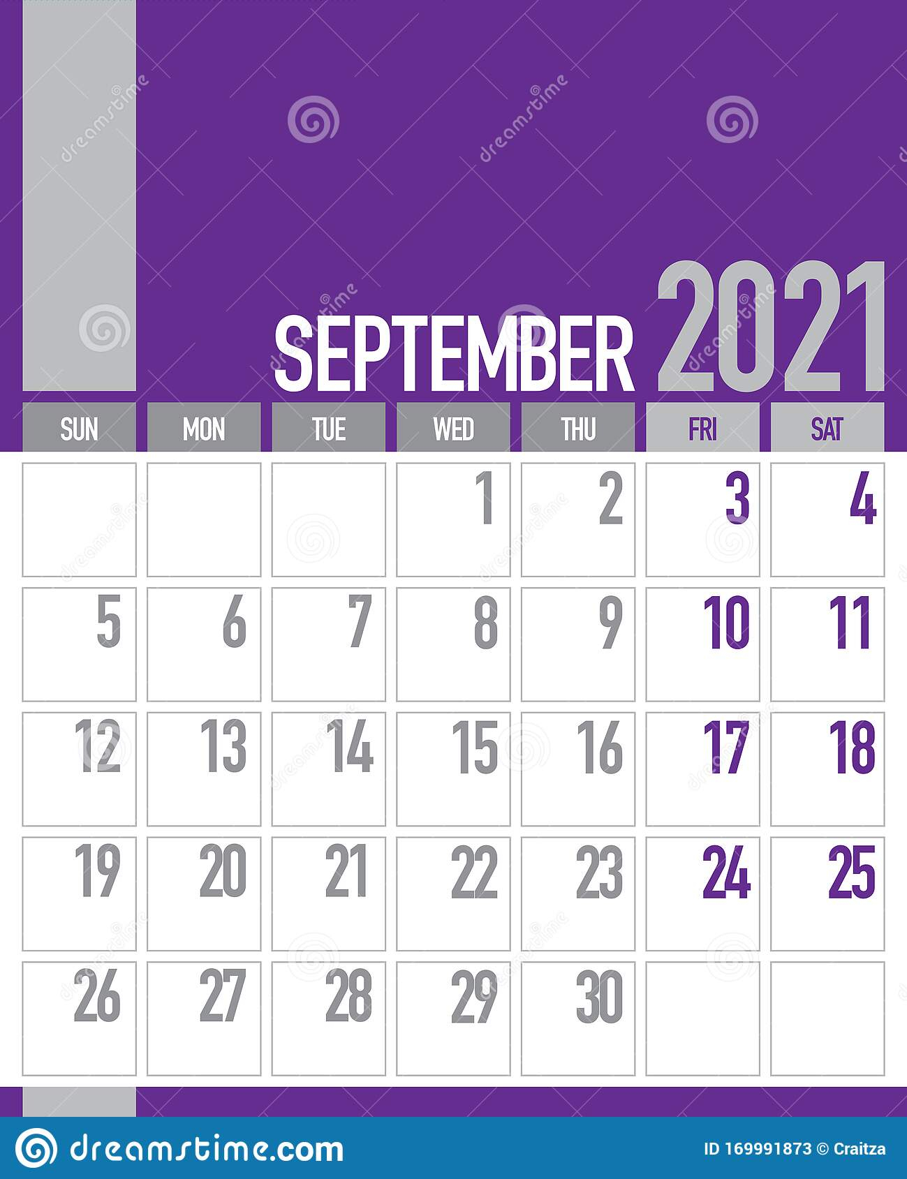 September 2021 Business Planner Calendar Stock