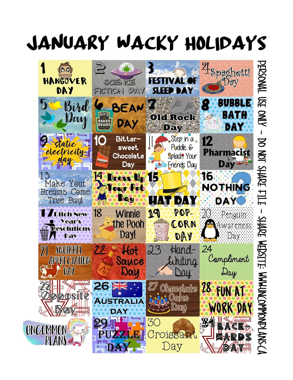 The Wacky Holidays Printables Are Back Tell Your Friends