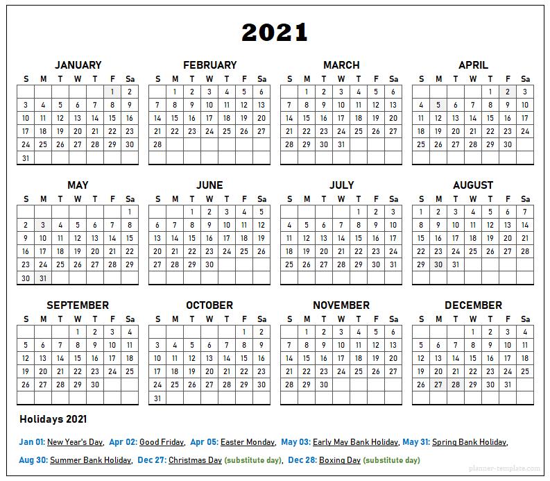 Uk Holiday 2021 Calendar Template School Bank Public