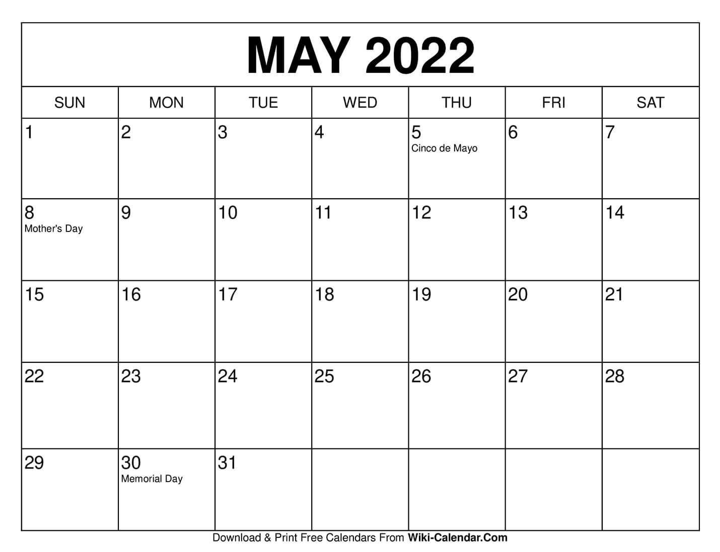 Universal Blank 30 Day Calendar Starting May 24 In 2020
