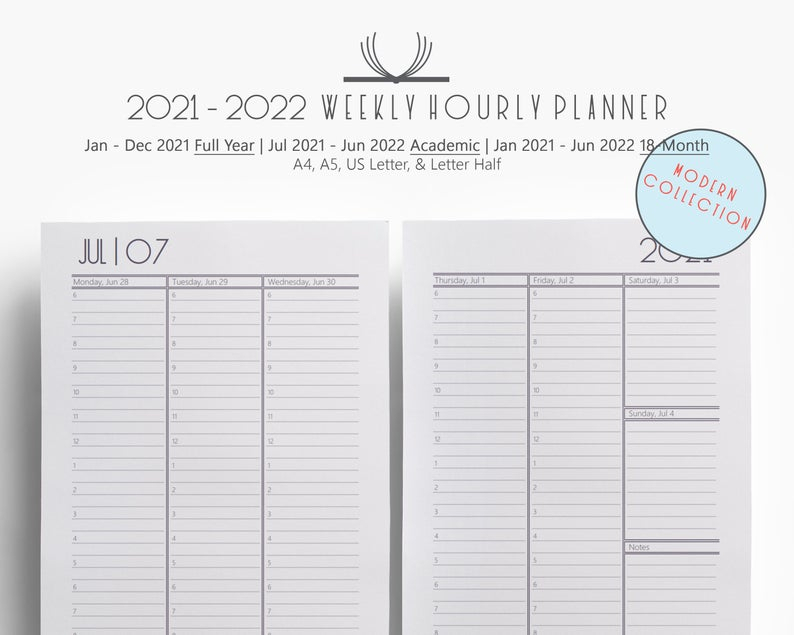 Weekly 2021 2022 Weekly Hourly Planner Printable A4 A5 Us