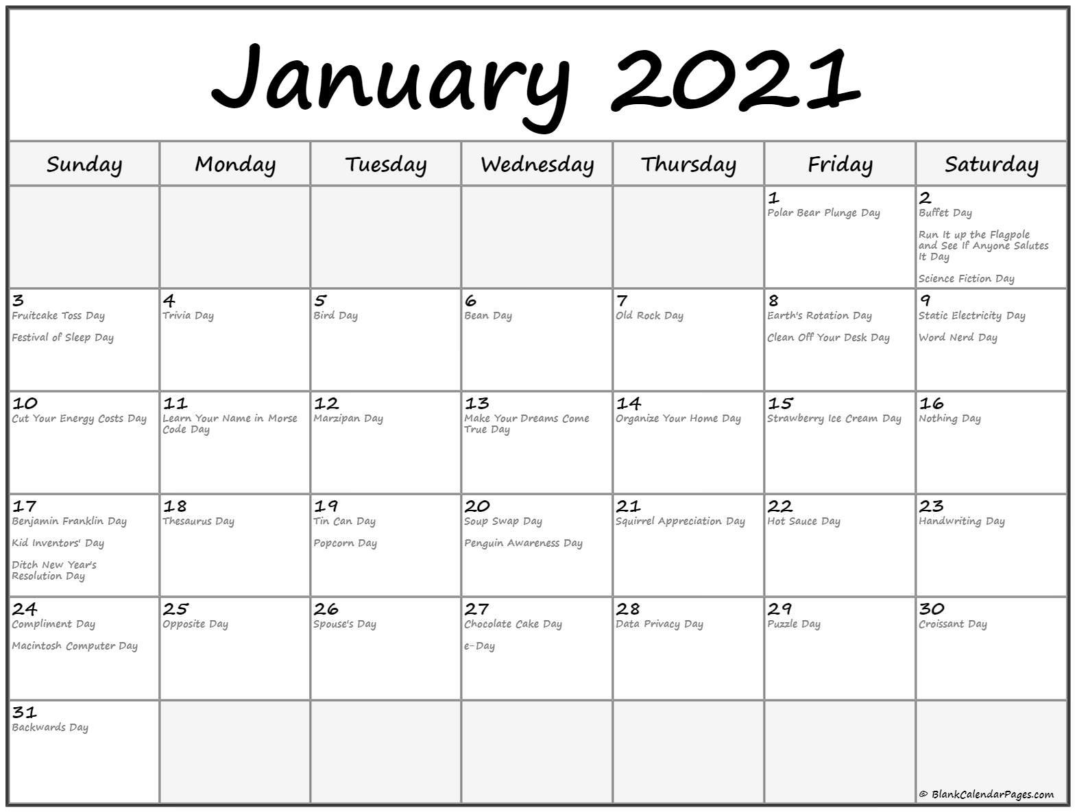 Weird Holiday Calendar 2021 Calendar 2021