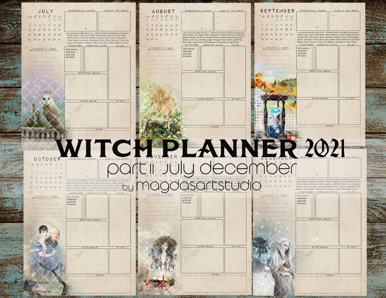 Witch Planner Ii 2021 Printable Witch Calendar Planner Etsy
