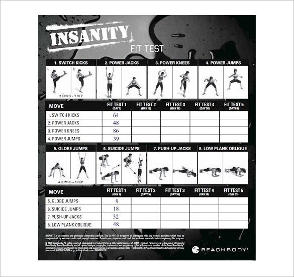Workout Exercises Insanity Workout Exercises List Pdf