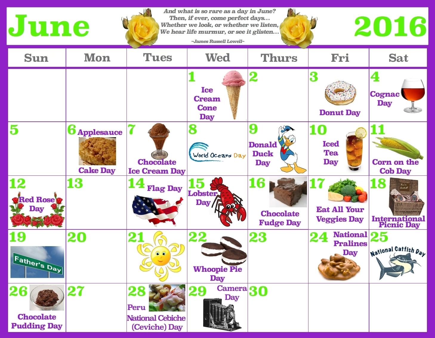 Year Calendar Of National Days Ten Free Printable